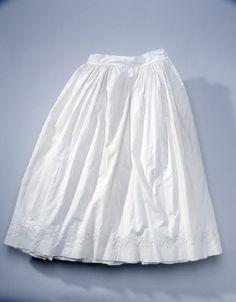 Cotton petticoat with whitework embroidery, worn by Queen Desideria of Sweden-Norway. Livrustkammaren, nr. 21160 (43:22)