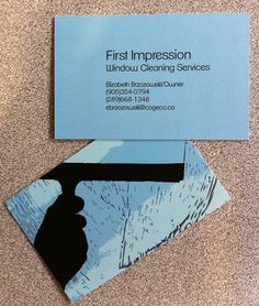 Simplicity works! In the name, in the message and in the graphics. Great Business Card by window cleaner Elizabeth Brzozowski.