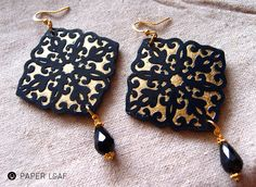 Damasco_02 | paper cut earrings design Paper Leaf | paper jewellery