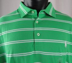 NWT Polo Ralph Lauren Mens Shirt XXL Pima Soft Cotton Green White Striped SS New #PoloRalphLauren #PoloRugby