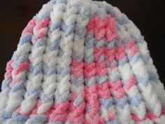 Knitted infant/doll hat blue/pink/white by crafts123 on Etsy, $4.00