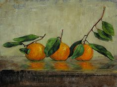 Ron Griswold - Three Satsumas..122613- Oil - Painting entry - December 2016 | BoldBrush Painting Competition