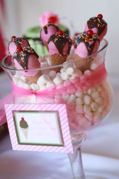 Minty greens and the berry pinks ice cream party: The Cake Pop Ice Cream Cones!