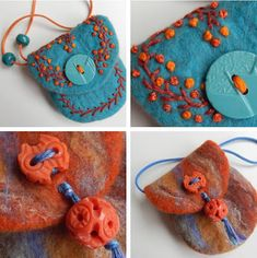 Some very cute and easy felt crafts projects. Wet Felting Projects, Felting Tutorials, Easy Felt Crafts, Felt Diy, Felt Embroidery, Felt Applique, Nuno Felting, Needle Felting, Felt Gifts
