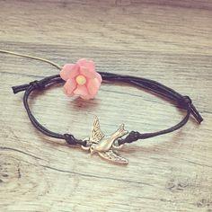 Armbänder - kl. Schwalben Armband schwarz verstellbar silber - ein Designerstück von Florabellaschmuck bei DaWanda