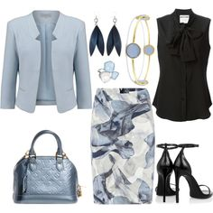 A fashion look from May 2015 featuring Moschino blouses, Soaked in Luxury blazers and HUGO skirts. Browse and shop related looks.