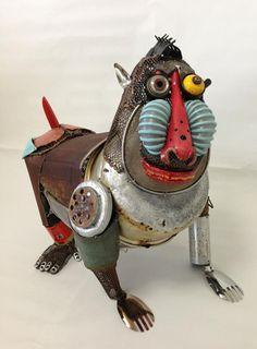 Animal sculptures by Japanese artist Natsumi Tomita Junk Art Found Object Art, Found Art, Art Du Monde, Sculpture Metal, Sculpture Ideas, Abstract Sculpture, Art Antique, Scrap Metal Art, Art Archive