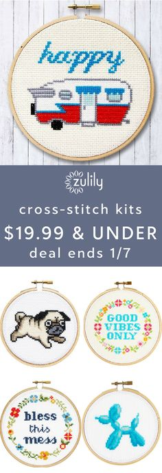Sign up to shop crochet and cross-stitch kits $19.99 & under. You're a maker — at your best when your hands are busy. Pick up a needle and get started on a cross-stitch or crochet project with these supplies. Save on yarn, embroidery, diy kits, and more. Deal ends 1/7/18.