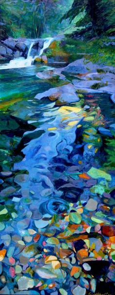 "Saatchi Online Artist: Ellen Dittebrandt; Acrylic, 2004, Painting ""Blue cool Creek"" Walk right in!"