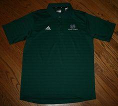 Notre Dame Track & Field Irish Green Shirt Adidas Polo Golf Mens Medium #adidas #NotreDame