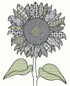 Bothy Threads Blackwork Sunflower Cross Stitch Kit - x Discover more kits by Bothy Threads at LoveCrafts. From knitting & crochet yarn and patterns to embroidery & cross stitch supplies! Blackwork Cross Stitch, Blackwork Embroidery, Folk Embroidery, Cross Stitch Embroidery, Cross Stitch Patterns, Cross Stitches, New Embroidery Designs, Creative Embroidery, Blackwork Patterns