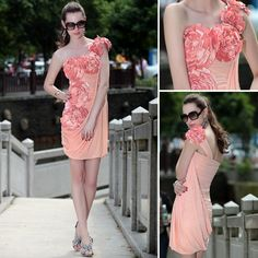 In Stock Glamorous Sheath One Shoulder Flower Ruffle Brazil Style Party Dress Cheap Party Dresses, Wedding Dresses Plus Size, Wedding Party Dresses, Dresses For Sale, Bridal Dresses, Cocktail Attire, Short Cocktail Dress, Dress Wind, Dress Attire