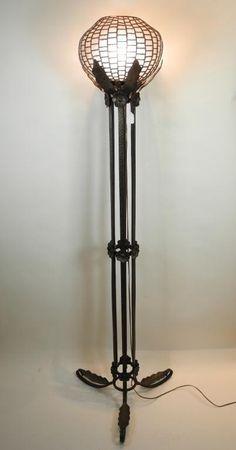 ART NOUVEAU WROUGHT IRON FLOOR LAMP
