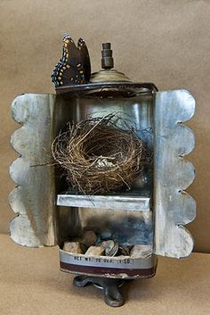 """Tin Can Art"" Earth Shrine with found objects (A.K.A treasures)"