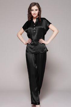 22 momme elegant short silk pajamas set with trimming | Shorts ...