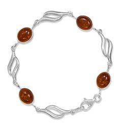"""12mm x 9mm amber cabochons are separated by 1"""" sterling silver links. $139"""