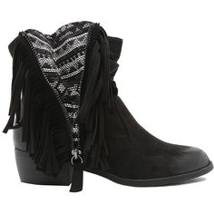 Qupid Western Fringe Bootie ($39) ❤ liked on Polyvore featuring shoes, boots, ankle booties, black, zapatos, fringe ankle boots, short black boots, black ankle boots, short cowboy boots and cowgirl boots