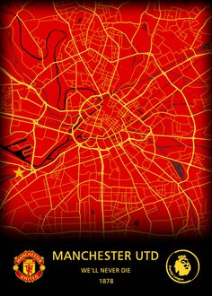"""Beautiful """"Manchester United FC"""" metal poster created by Original Maps. Our Displate metal prints will make your walls awesome."""