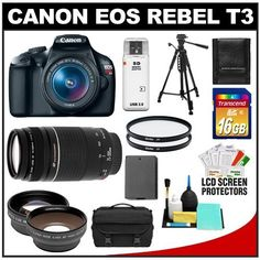 Canon EOS Rebel T3 Digital SLR Camera Body & EF-S 18-55mm IS II Lens with 75-300mm III Lens + 16GB Card + .45x Wide Angle & 2x Telephoto Lenses + Battery + (2) Filters + Tripod + Accessory Kit by Canon. $559.95. Kit includes:♦ 1) Canon EOS Rebel T3 Digital SLR Camera Body & EF-S 18-55mm IS II Lens♦ 2) Canon EF 75-300mm III Zoom Lens♦ 3) Transcend 16GB SecureDigital Class 10 (SDHC) Card♦ 4) PD .45x Digital Wide Angle Macro Lens (58mm Black)♦ 5) PD 2x Dig...