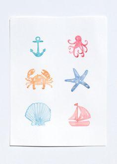 Nautical ORIGINAL Watercolor Painting 9x12 inch, sea creatures, beach, crab, anchor, sailboat, seashells, octopus