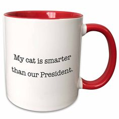 3dRose EvaDane - Funny Quotes - My cat is smarter than our President - 11oz Two-Tone Red Mug (mug_149820_5) >>> Insider's special review you can't miss. Read more (This is an affiliate link and I receive a commission for the sales) : Cat mug