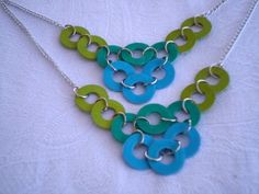 Lime, teal, and aqua washer necklace