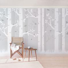 Selbstklebende Tapete   Fototapete   Birkenwald Mit Schmetterlingen Und  Vögel Tapete Grau