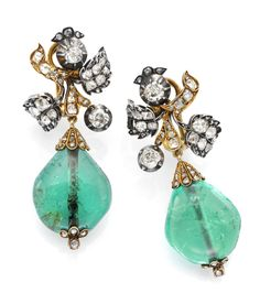 A Pair of Antique Emerald and Diamond Ear Pendants, Mounted in Silver and Gold, circa 1850.  Available at FD. www.fd-inspired.com