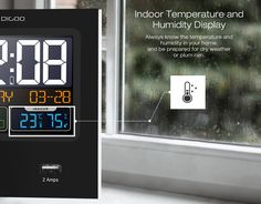 Digoo Time Calendar Format Switchable Temperature Humidity Display Dual Alarms Snooze Function NAP LED Backlight Alarm Clock with 2 USB Temperature And Humidity, Bars For Home, Smart Home, Home Textile, Alarm Clock, Housekeeping, Faucet, Party Supplies, Calendar