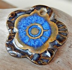 "Pendant "" Flower blue and silver "" By Mª Carmen Rodriguez ( Majoyoal ) https://www.facebook.com/groups/CeramicArtBeadMarket"