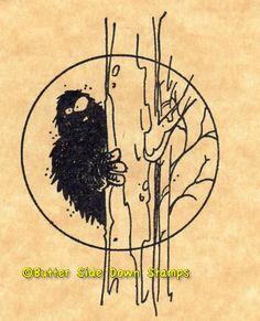 Australian Yowie Bigfoot Rubber Stamp by ButterSideDownStamps