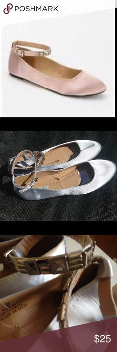 Kimchi blue silver flats with charm ankle straps Silver satin kimchi blue urban outfitters ballet flats with flat charm silver ankle straps Urban Outfitters Shoes Flats & Loafers