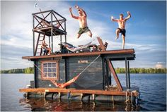 Finnish boat house with sauna
