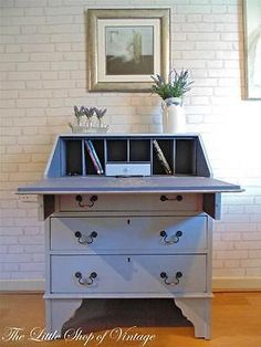 Beautiful Vintage Writing Bureau Desk 3 Drawers Shabby Chic Annie Sloan Louis Blue