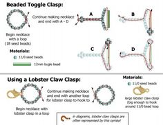 DIY Jewelry: Free beading pattern for including or making a clasp for a beaded necklace using seed beads and either a lobster claw clasp or 12mm bugle bead.