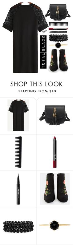 """""""Total Black"""" by simona-altobelli ❤ liked on Polyvore featuring GHD, NARS Cosmetics, Kat Von D and Bling Jewelry"""
