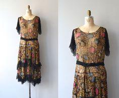 Floral Canopy dress | 1920s silk chiffon • floral 20s dress