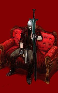 Some may see a guy in red sitting on a sofa with a sword. I see a lonely guy sitting there, beeing sleepy and cuddeling with the only thing that his father left him.
