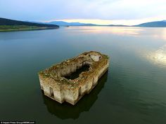 The partially-submerged ruins of theSt Ivan Rilski Church are visibleat the Zhrebchevo reservoir, near the town of Tvardica, Bulgaria