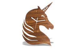 Modern Wooden Unicorn Wall Clock, modern Animal Wall clock, decorative kids room, minimalist kids clock, baby decorative room