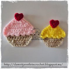 Cupcake Applique Motif By Janet Carrillo - Free Crochet Pattern - (damnitjanetletscrochet.blogspot)
