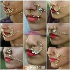 Attractive Bridal Nose Ring with Chain ,indian bridal Nath Ring music from ; Nose Ring Jewelry, Gold Nose Rings, Silver Nose Ring, Nath Nose Ring, Nose Ring Designs, Rajputi Jewellery, Indian Nose Ring, Bridal Nose Ring, Princess Jewelry