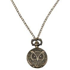 Orologio da taschino Gothic - Owl in acciaio inossidabile con movimento al quarzo. Retro con decorazioni. Catenina: 78 cm circa. Pendente: 2,7 x 3,5 cm circa.