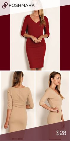 "Beautiful in Burgundy 95% POLYESTER 5% SPANDEX.    SOLID KNIT V-NECK BODY CON DRESS.   Perfect FALL dress and color☺️  MODEL INFO: HEIGHT: 5'8"" BUST: 34 WAIST: 27 HIP: 35 SHOWN WEARING SIZE: SMALL Dresses Midi"