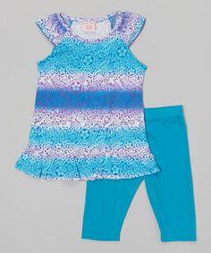 Look what I found on #zulily! Blue & White Stripe Tunic & Capri Leggings - Girls #zulilyfinds
