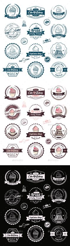 Buy Cupcakes Vintage Labels by Avantgraph on GraphicRiver. Vintage retro cupcakes bakery badges and labels Vector cupcakes is an vintage badges and labels. Bakery Logo Design, Branding Design, Brand Identity Design, Food Logo Design, Vector Logo Design, Corporate Branding, Retro Design, Web Design, Graphic Design