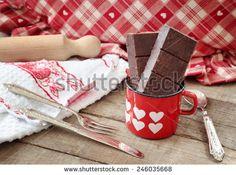 Modica chocolate bars inside hearts decorated mug with vintage silverware