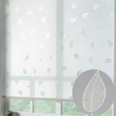 Leaves-4FT-48-122cm-White-burnout-roller-blind-ONLY-10-with-FREE-postage
