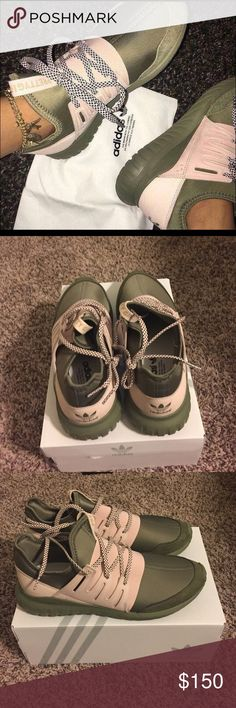 Adidas Tubulars Olive green and blush pink adidas! Gorgeous for fall, perfect with joggers! Adidas Shoes Athletic Shoes