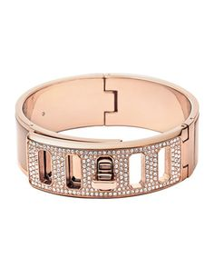 Rose+Golden+Pave+Turn-Lock+Bangle+by+Michael+Kors+at+Neiman+Marcus.